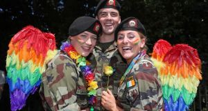 Members of the Defence Forces attend the Dublin Pride Parade. Photograph: Brian Lawless/PA Wire