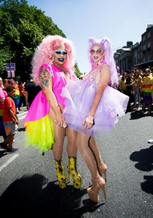 "Dublin Pride Parade ""Channnell""  and ""Pixie"". Photo: Tom Honan"