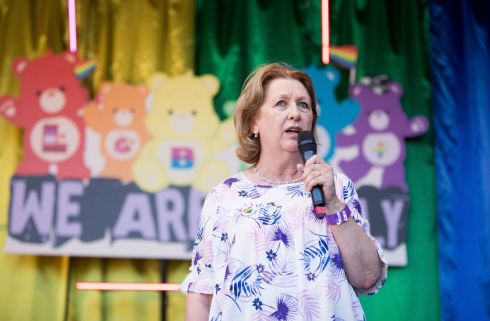 Dublin Pride Parade Former President Mary McAleese addresses the crowd at Smithfield. Photo: Tom Honan.