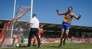 Clare's David Tubridy converts a penalty at the second attempt during the All-Ireland Senior Football Championship qualifier against Armagh at the Athletic Grounds in Armagh. Photograph: Ryan Byrne/Inpho