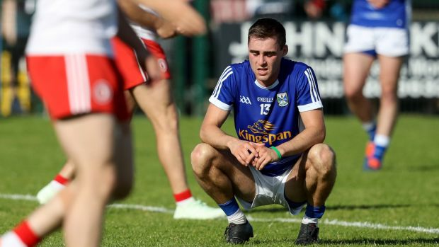 Cavan's Conor Bradley dejected at the end of the game. Photograph: Tommy Dickson/Inpho