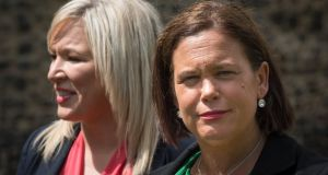 Sinn Féin leader Mary Lou McDonald (right) and her deputy, Michelle O'Neill. Photograph: Stefan Rousseau/PA Wire.