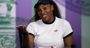 Serena Williams during a press conference ahead of the 2018 Wimbledon Championships. Photograph:   Jed Leicester/AELTC/PA Wire
