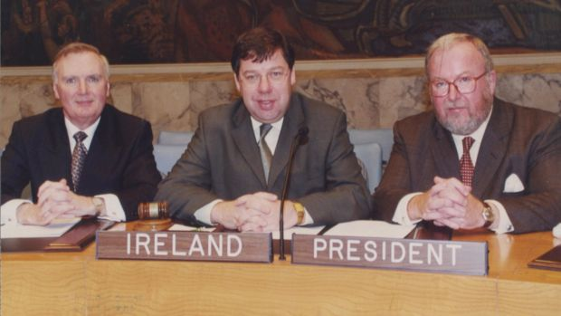 UN Security Council in October 2001: Ambassador Richard Ryan, minister for foreign affairs Brian Cowen and Dermot Gallagher.
