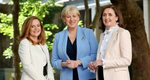 Anne Flood (left) , head of capital markets Intertrust Ireland with  Minister for Business, Enterprise and Innovation, Heather Humphreys  and Imelda Shine, managing director intertrust Ireland, announcing the new jobs. Photograph: Maxwell Photography