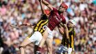 Galway's Jonathan Glynn battles in the air against Kilkenny's Cillian Buckley  during the Leinster final at Croke Park. Photograph: Tommy Dickson/Inpho
