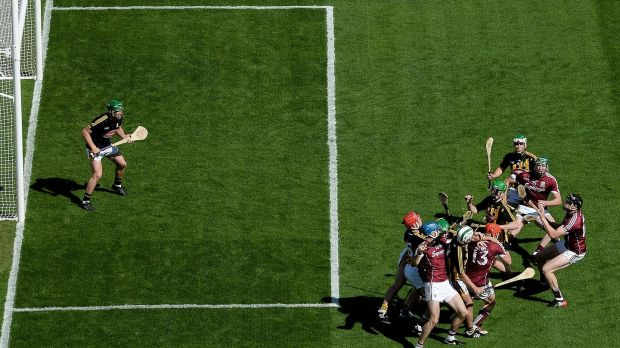 Kilkenny and Galway players battle for possession. Photo: Stephen McCarthy/Sportsfile via Getty Images