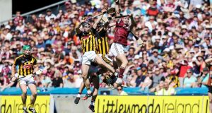Galway's Conor Whelan wins a high ballduring the Leinster SHC final against Kilkenny at Croke Park. Photo: Tommy Dickson/Inpho