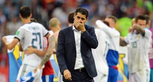Spain's head coach Fernando Hierro reacts after the penalty shootout defeat to Russia in the  World Cup round of 16 match in Moscow. Photograph: Peter Powell/EPA