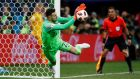 Croatia's Danijel Subasic saves a penalty from Denmark's Lasse Schone during the shootout in the round of 16 game at  Nizhny Novgorod Stadium. Photograph: Jason Cairnduff/Reuters
