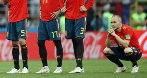 Spain's Andres Iniesta looks dejected after losing the penalty shoot-out to Russia. Photograph: Carl Recine/Reuters
