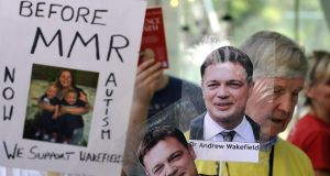 Supporters of Dr Andrew Wakefield, the doctor at the centre of the MMR scandal, outside the GMC in London in 2010. Photograph: Tim Ireland/PA Wire