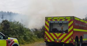 Smoke from the gorse and forest fires at Moneymeen north of Macreddin village causing reduced visibility in the area. Photograph: Wicklow Fire Service/Twitter
