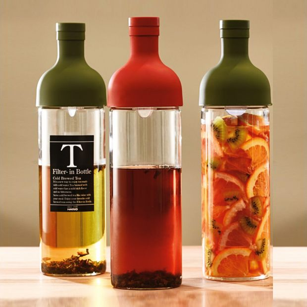 Hario cold brew iced tea bottles with in-built filters