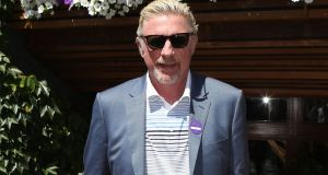 Boris Becker arrives on day one of the Wimbledon Championships on Monday. Photograph:  Philip Toscano/PA Wire