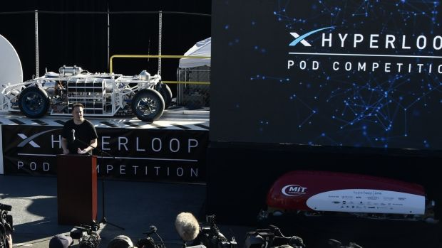 SpaceX CEO Elon Musk speaks during the SpaceX Hyperloop competition in Hawthorne, California in 2017. Photograph: Gene Blevins/AFP/Getty Images