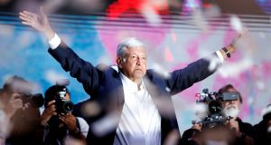 Andrés Manuel López Obrador will become Mexico's first left-wing president since the country became a democracy after his resounding election victory at the weekend. Photograph: Goran Tomasevic/Reuters