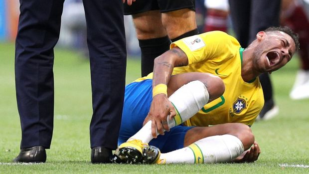 Neymar goes down injured during the World Cup Round of 16 match between Brazil and Mexico at Samara Arena. Photograph: Buda Mendes/Getty Images