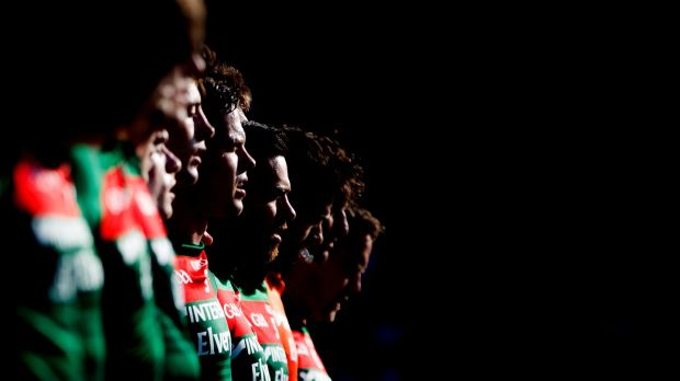 Mayo line up before the Round 3 qualifier against Kildare at St Conleth's Park, Newbridge. Photograph: James Crombie/Inpho