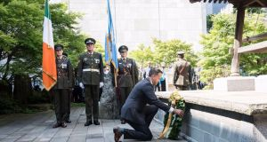 Taoiseach Leo Varadkar laying a wreath at UN Building in New York to the 88 Irish peacekeepers who died during 60 years of unbroken service for the UN.  Photograph: Kim Haughton