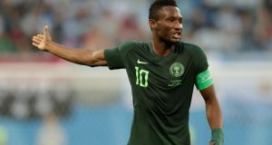 Nigeria's John Obi Mikel during the defeat to Argentina. Photograph: Henry Romero/Reuters