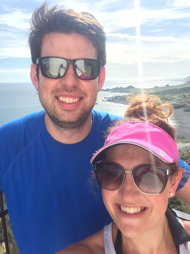 Niamh O'Riordan with her partner Dave in Wellington, NZ: 'Leave your curtains closed and your windows open in your bedroom during the day.'