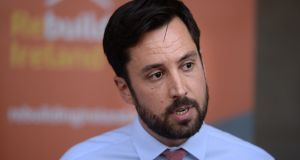 Eoghan Murphy,  Minister for Housing, speaking after the 'housing summit' . Photograph: Dara Mac Dónaill / The Irish Times