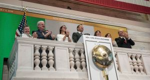 An Taoiseach Leo Varadkar  ringing the opening bell of the New York Stock Exchange on Tuesday. Kim Haughton