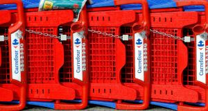Carrefour  shopping trolleys. Photograph: Reuters/Eric Gaillard/File Photo
