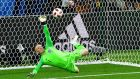 England goalkeeper Jordan Pickford saves  Carlos Bacca's  penalty during the  penalty shootout with Colombia in the World Cup Round of 16  match at the Spartak Stadium in Moscow. Photograph: Mladen Antonov/AFP/Getty Images
