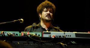 Musician Richard Swift performing with the The Shins in 2012. Photograph:  Kevin Winter/Getty Images for Coachella