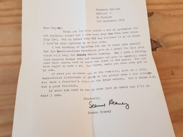 The 1973 letter from Seamus Heaney to Sophia Hillan