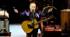 Paul Simon on stage at the 3 Arena in Dublin: he plays at the RDS next Friday. Photograph:   Eric Luke