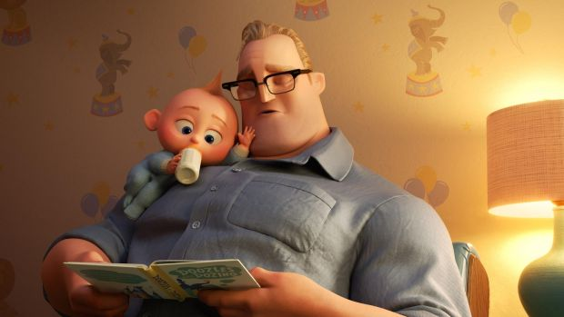 "Bob ""Mr Incredible"" and baby Jack-Jack in Incredibles 2"