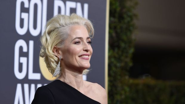 "Gillian Anderson arrives for the Golden Globe Awards earlier this year, in Beverly Hills, California. Anderson will play the part rendered eternal by Bette Davis in ""All About Eve"". Photograph: Valerie Macon/AFP/Getty Images)"