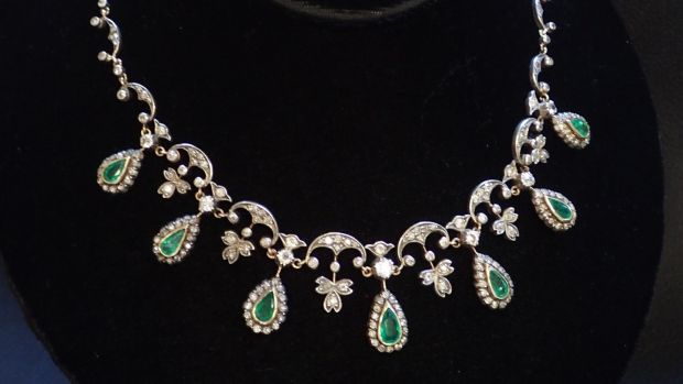 Lot 225: emerald and diamond necklace