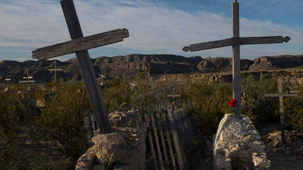 The graves of flu victims in the ghost town of Terlingua, Texas. Photograph: Getty Images