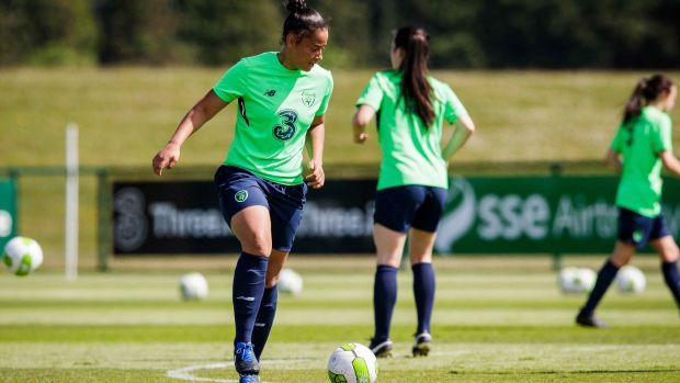 Rianna Jarrett trains with the Republic of Ireland Women's squad last month. Photograph: Ryan Byrne/Inpho