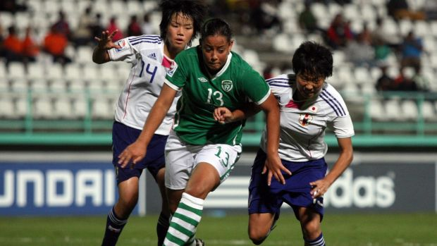 Republic of Ireland's Rianna Jarrett takes on Japan's Haruka Hamada and Hikari Takagi in the Women's Under-17 World Cup in 2010. Photograph: James Crombie/Inpho