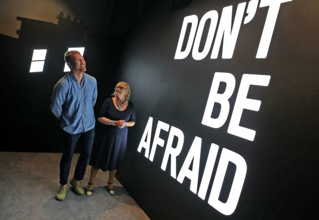 Marie Heaney and artist Maser. Photograph: Marc O'Sullivan