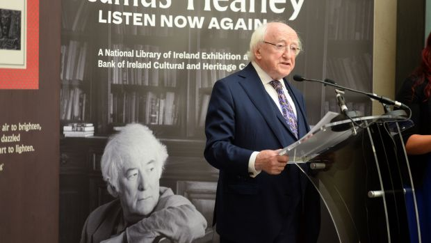 Exhibition 'Listen Now Again' being launched by President Michael D Higgins. Photograph: Dara Mac Dónaill