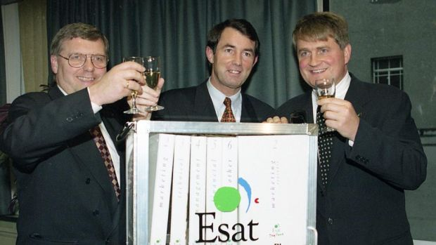 Esat deal: Denis O'Brien (right) with Michael Lowry (centre) and Mar Kare Gustad (left), of Telenor, toast the success of their bid for Ireland's second mobile-phone licence, in 1995. Photograph: Eric Luke