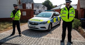 Police on the scene at Muggleton Road where a major incident was declared after a couple were exposed to the Novichok nerve agent. Photograph: Jack Taylor/Getty Images