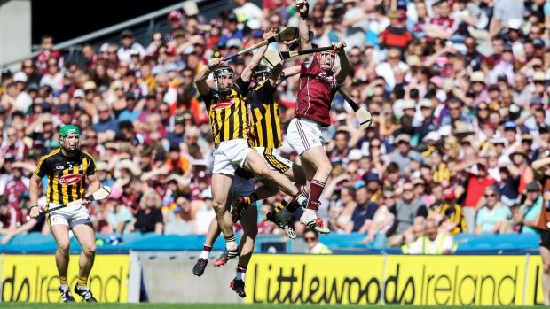 Galway's Conor Whelan wins a high ball in the Leinster Senior Hurling Final. Photograph: Tommy Dickson/Inpho