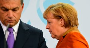 Germany chancellor Angela Merkel with Hungary's far-right prime minister Viktor Orban.  Migration, as Merkel repeats now on a daily basis, is the issue on which the EU's fate rests. Photograph:  Odd Andersen/AFP/Getty Images