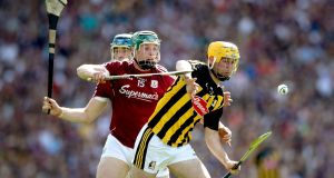 Galway's Cathal Mannion and Richie Leahy of Kilkenny in action during the drawn Leinster final at Croke Park. Photograph: Ryan Byrne/Inpho