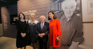 CEO of Bank of Ireland Francesca McDonagh, Sabina Higgins, President Michael D Higgins and  Sandra Collins, director of the National Library  at the opening of the NLI's major exhibition Seamus Heaney: Listen Now Again at the newly created Bank of Ireland Cultural and Heritage Centre at College Green, Dublin. Photograph: Gareth Chaney / Collins