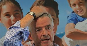 Michael O'Leary  during a Ryanair  press conference last year. He   recently told investors he wants to stay on at least until Ryanair hits its 200m passenger target. Insiders say  the board supports him in this. Photograph Nick Bradshaw