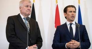 "German interior minister Horst Seehofer and  Austrian chancellor Sebastian Kurz: Austria has accepted  150,000 migrants, and is not ""happy taking lessons from those who have not taken in proportionately similar numbers"". Photograph: Christian Bruna/EPA"