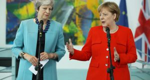 British prime minister Theresa May with German chancellor Angela Merkel  in Berlin on Thursday. Brexit was to be a major topic of their meeting. Photograph: Sean Gallup/Getty Images